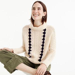 J. Crew   Embellished Cable Sweater Size L